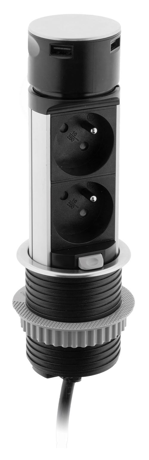 Multiprise encastrable compacte 2 prises + USB - Otio
