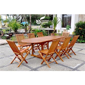Lubok : Salon De Jardin Teck Huilé 8 Personnes - Table Ovale ...