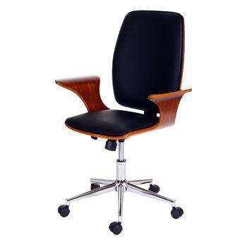 fauteuil de bureau alta fauteuil directorial chaise pitovante bois courb similicuir noir. Black Bedroom Furniture Sets. Home Design Ideas