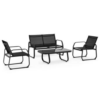 Salon de jardin 4 places en textilène - Noir - Mobilier de ...