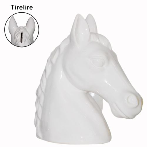 Tirelire buste cheval blanc