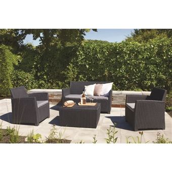 Allibert Salon De Jardin Corona 4 Places Imitation Resine Tressee - Gris