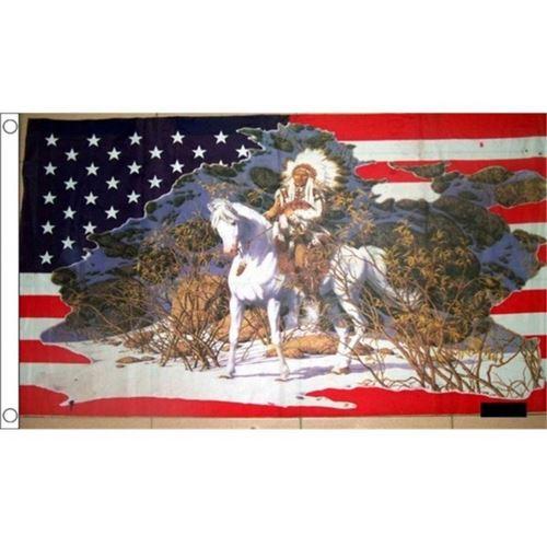 drapeau usa et chef indien à cheval americain flag 150x90