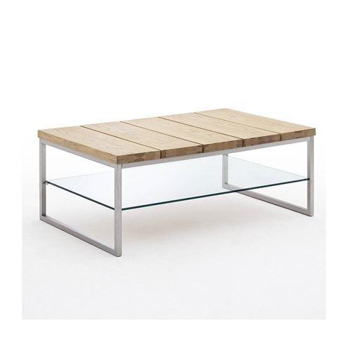 Table basse NORMANDIE 100 x 60 cm en chêne noueux métal et verre