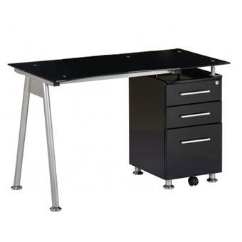 Bureau Table Informatique Nero Noir Verre Noir Argent Caisson A Tiroir Fixe Hjh Office Achat Prix Fnac