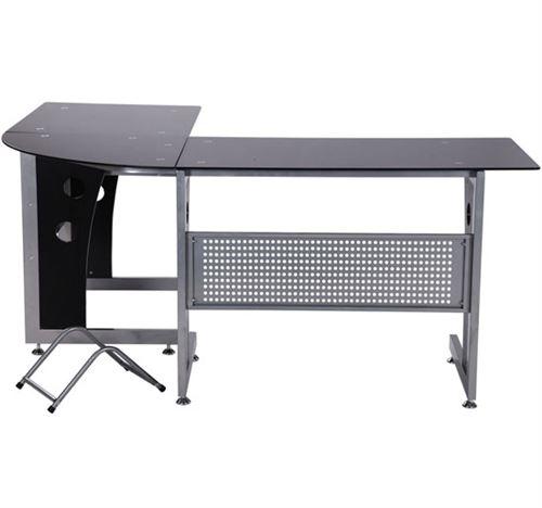 Bureau D Informatique Angle Pour Ordinateur Meuble Table De Travail Plateaux Verre Fume Trempe