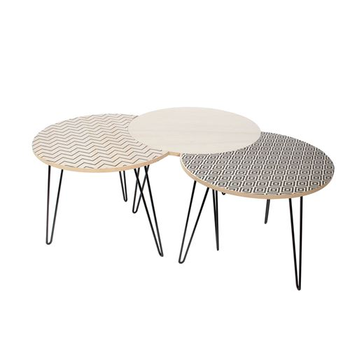 Trio de Tables Gigognes - Beige et Noire - H. 36cm