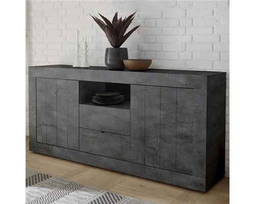 Buffet gris moderne 180 cm, 2 portes - 2 tiroirs URBAN - L 180 x P 42 x H 86 cm