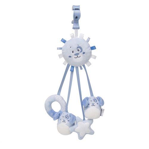 Saro figurine suspendue avec rubans et hochet chien bleu