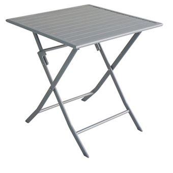 Table De Jardin Pliante En Aluminium Coloris Silver - Dim: 70 X 70 X ...