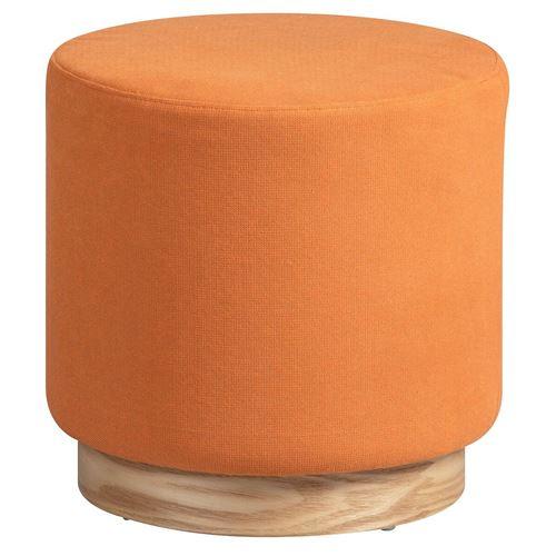 ATNA - Pouf Rond Placage Frêne et Tissu Orange