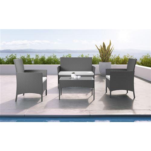 IMS Garden - IMORA - Salon de jardin résine tressée Gris/ecru - ensemble 4 places - Canapé + Fauteuil + Table