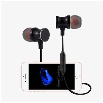 Ecouteurs Bluetooth Metal pour IPHONE Xs Smartphone Sans Fil Telecommande Son Main Libre INTRA AURICULAIRE Universel (NOIR)