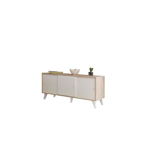 Oslo Buffet Bas Scandinave Blanc Et Decor Chene Bardolino - L 149 Cm