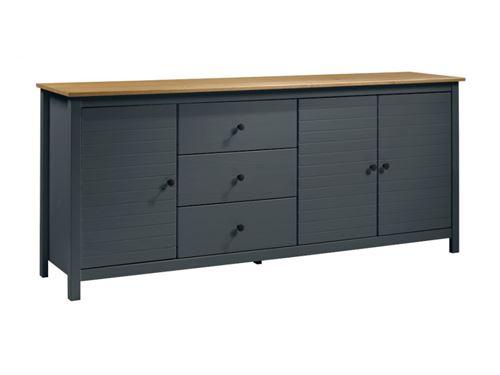 Buffet NEWPORT - 3 portes & 3 tiroirs - Pin - Gris bleu et chêne