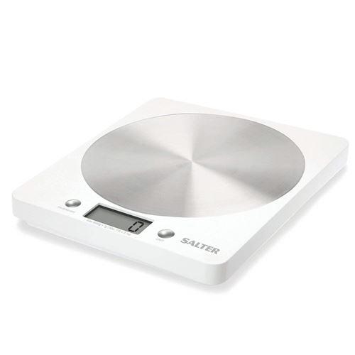 Salter Disc Balance de Pesée de Cuisine Numérique – Argent Élégant / Aluminium Design Mince Balance de Cuisine Électronique Appareil Ménager pour la Maison et la Cuisine, Pesée Aliments avec une Précision Exacte jusqu'à 5kg + Fonction Aquatronic pour Liqu