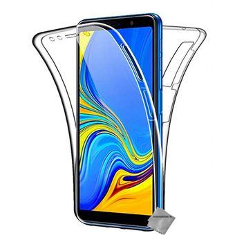 Housse etui coque silicone gel 360 integrale pour Samsung Galaxy A7 (2018) avec verre trempe - TRANSPARENT