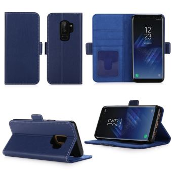 100% high quality pretty cool sports shoes Housse Samsung Galaxy S9 PLUS protection Portefeuille luxe bleue Cuir Style  avec stand - Etui bleu coque S9+ avec porte cartes - Accessoires pochette  ...