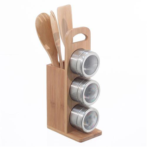 Support à épices 3 pièces et 3 ustensiles de cuisine - Bambou et acier inox