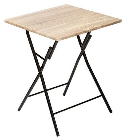 Table d'appoint pliante en métal coloris beige - L.60 x l.60 x H.75 cm -PEGANE-