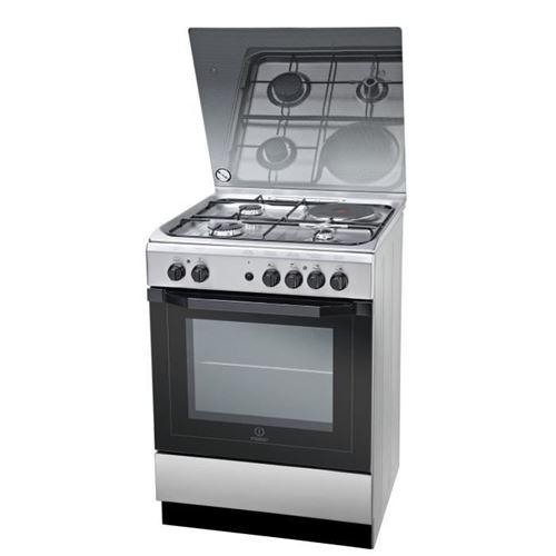 Indesit I6M6HAG(X) FR - Cuisinière - pose libre - largeur : 60 cm - profondeur : 60 cm - hauteur : 85 cm - avec système auto-nettoyant - acier inoxydable