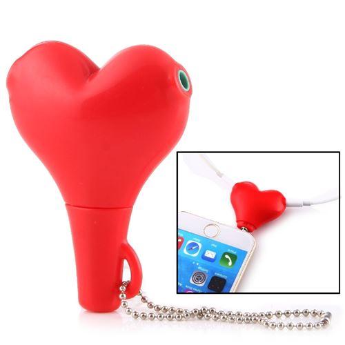 (#1) 1 Male to 2 Females 3.5mm Jack Plug Multi-function Heart Shaped Earphone Audio Video Splitter A