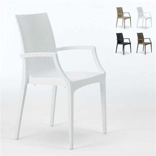 Grand Soleil - Chaises de jardin fauteuil accoudoirs bar café restaurants en Poly-rotin BISTRO ARM Grand Soleil, Couleur: Blanc