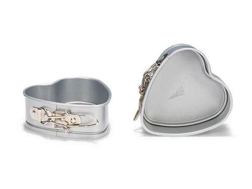 Moules cœur avec charnière en acier revêtu 12cm - lot de 2 SILVER TOP