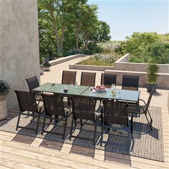 Avril Paris - Table de jardin extensible aluminium 140/280cm + 10 ...