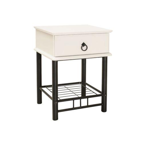 Table de chevet - ET747 - 40 x 45 x 61 cm - Blanc et noir