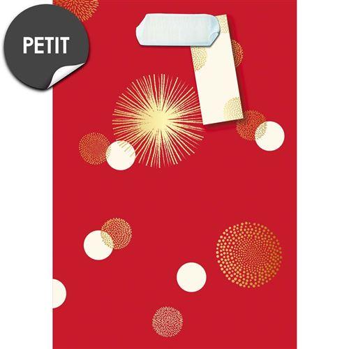 Draeger la carterie Sac cadeau petit format rouge pois blanc et or Multicolore