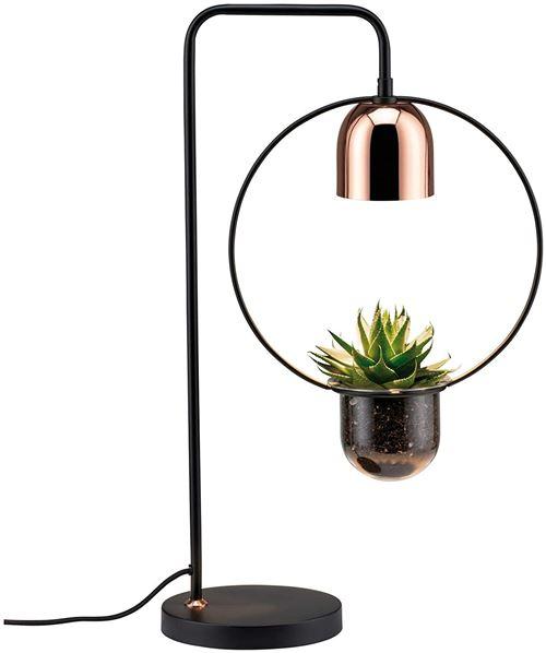 Paulmann 79746 Lampe de Table Fanja, Plante Lumière, Max. 20 Watts, Noir, Cuivre, Métal, GU10