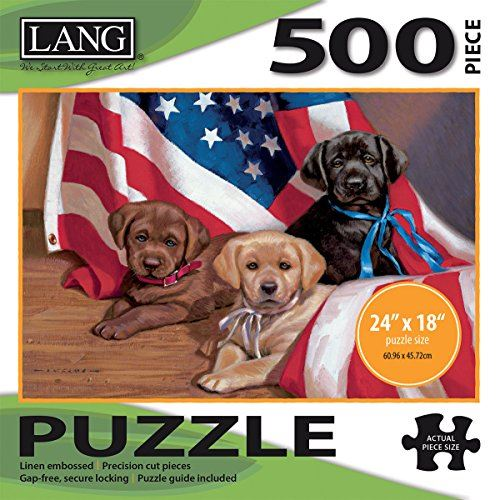 LANG - 500 Piece Puzzle -American Puppy Artwork by Jim Lamb - Linen Finish - 24 x 18 Completed