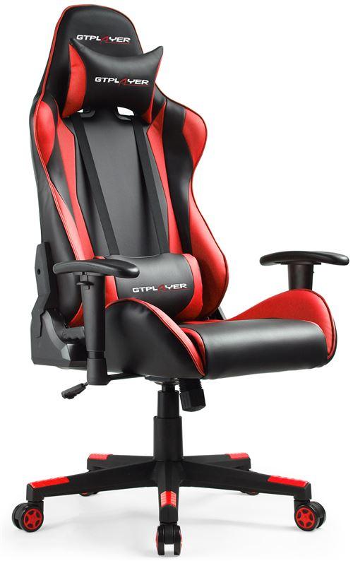 GTPLAYER Chaise Gaming de Bureau Fauteuil Gamers Siège Ergonomique Hauteur Réglable et Certification SGS, Noir/Rouge