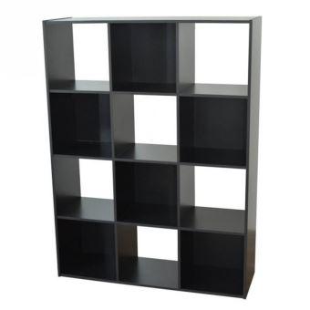 Etagère cube en bois H123 L92cm 12 niches COMPO   Noir   Achat