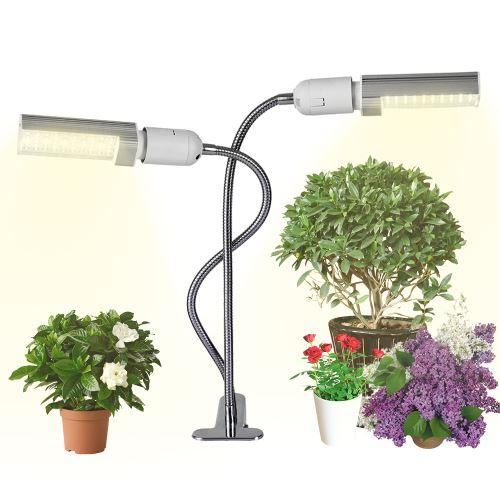 Decdeal lumière élèvent ampoule pour plantes d'intérieur 50W super brillante 100 LEDs Soleil semblable au spectre rouge et bleu Ampoule à deux têtes remplaçable à col de cygne flexible à 360 °