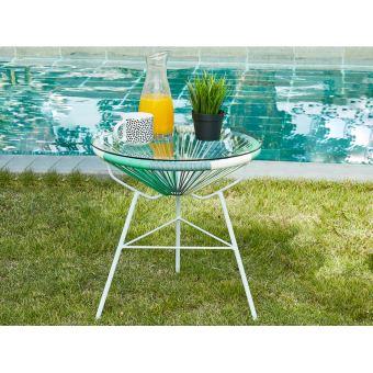 Table de jardin ALIOS en fils de résine tressés - Blanc ...