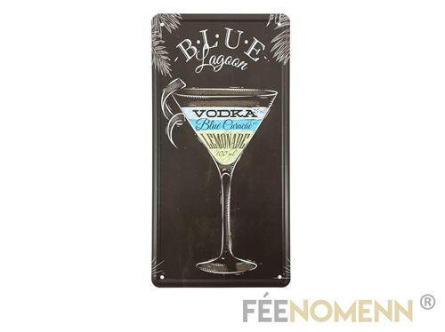 plaque métal immatriculation vintage - blue lagoon recette cocktail (15x30cm)