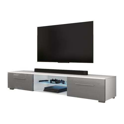 Meuble Tv Banc Tv Syvis 140 Cm Blanc Mat Gris Brillant Avec Led Style Moderne