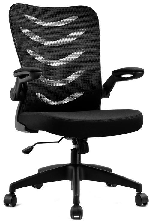 COMHOMA Chaise de Bureau Fauteuil Siège Ergonomique Hauteur Réglable Accoudoirs Pliables Noir