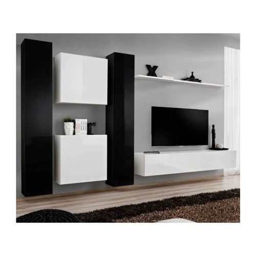 Ensemble meuble salon SWITCH VI design, coloris blanc et noir brillant.
