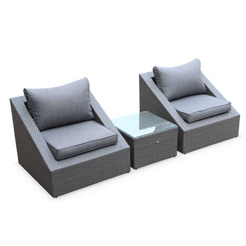 Salon de jardin 2 places - Triangolo - résine tressée grise coussins gris fauteuils + 1 table basse empilables