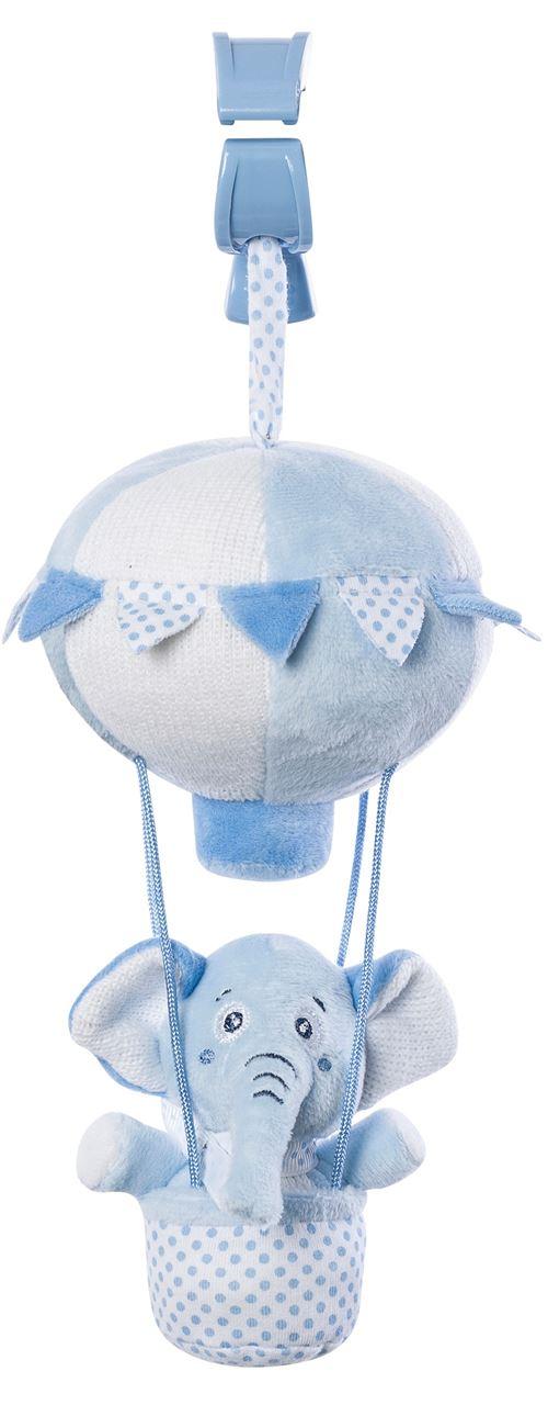 Saro figure suspendue montgolfière avec hochet éléphant bleu