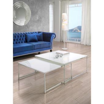 Lot De 2 Tables Basses Gigognes En Verre Blanc Opaque Et