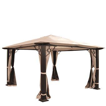 Pergola Mira, pavillon de jardin, cadre stable à 12cm avec paroi et ...