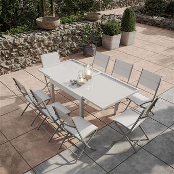 Avril Paris - Table de jardin extensible aluminium/verre 90/180cm + 8  Chaises pliantes textilène Gris argenté - BORA