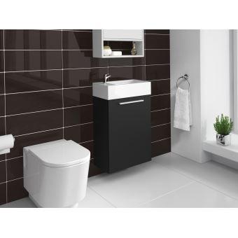Meuble de salle de bain Athene Bois noir 40x20 cm Armoire de rangement  Meuble lavabo évier Meubles