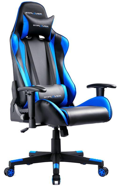 GTPLAYER Chaise Gaming de Bureau Fauteuil Gamers Siège Ergonomique Hauteur Réglable et Certification SGS, Bleu