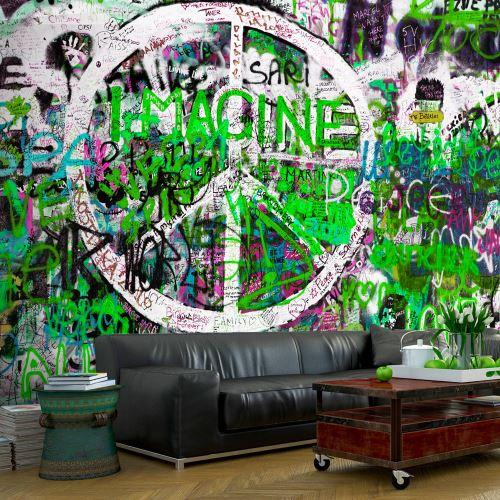 100x70 Papier peint Street art Moderne Green Graffiti