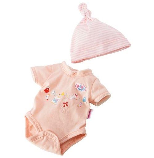 Vetements baby born 43 cm body imprime et bonnet raye pour poupon (ref.za01)